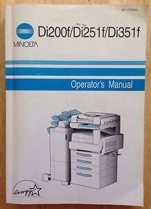 2001 minolta copier operator s manual book minolta di200f di251f rh ebay com minolta di351 service manual