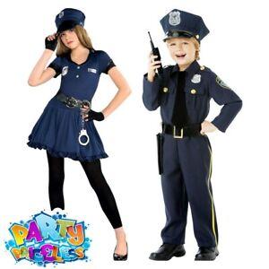 Kids Cop Costume Girls Boys Police Officer Uniform Book Day Childs Fancy Dress