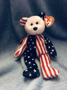 7722cc31da3 TY Beanie Baby Spangle Bear Pink Face Dob 1999 Red white Blue ...
