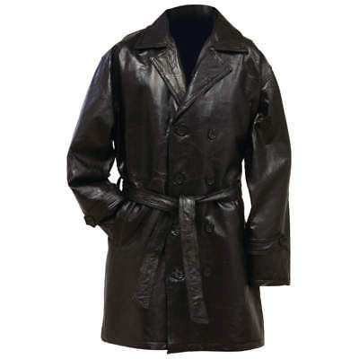 Mens Black Genuine Leather Mid Length Lined TRENCH COAT Button Front Over Jacket
