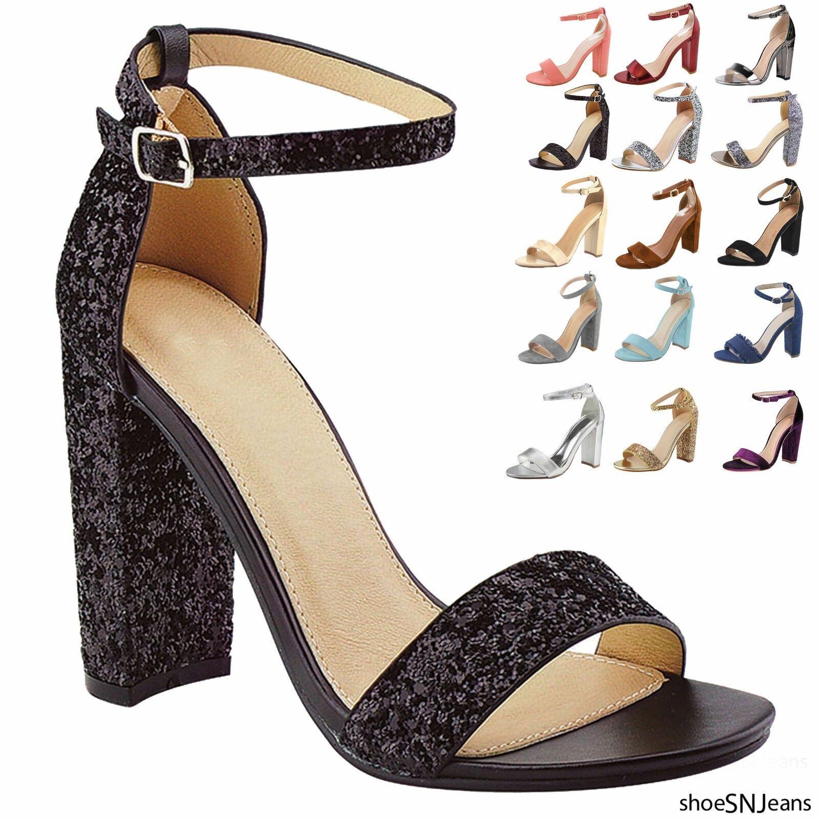 Nuova da Chunky Donna Cinturino Alla Caviglia Chunky da Ballerine Sandali Tacco Alto b76635