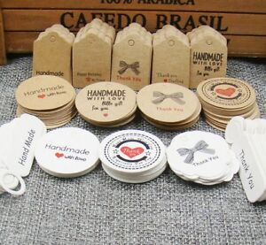 Craft-Paper-Tags-039-HANDMADE-WITH-LOVE-039-amp-039-THANK-YOU-039-Hand-Made-Gift-Tags