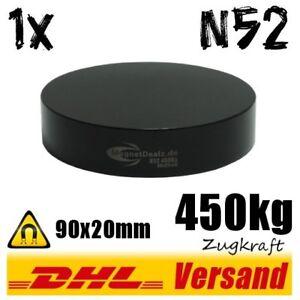 Super-starker-grosser-schwarzer-Neodym-Industrie-Magnet-90x20mm-450kg-N52