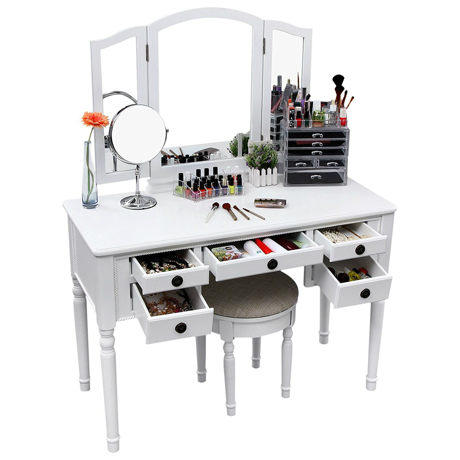 Mirrored Vanity Desk Makeup Set Dressing Table Top Stool Bedroom Furniture White For Sale Online