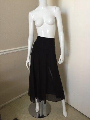 bb90098244e Tadashi VINTAGE! NEW! Black Lined Nylon Flared Hem Lined Maxi Skirt ...