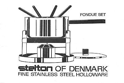 Stelton Fondue Teak Arne Jacobsen ära Steel Cylinda Line Made In Denmark