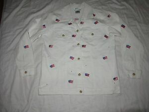 9eae27763723 Image is loading Quacker-Embroidered-US-Flag-Long-Sleeve-Button-Down-