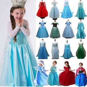 Kid-Girl-Elsa-Queen-Anna-Princess-Dress-Up-Cosplay-Fancy-Party-Christmas-Costume
