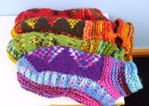 HANDMADE FAIRTRADE WOOL FLEECE LINED COSY TOES SLIPPER BED SOCKS SIZE 4-8 NEPAL