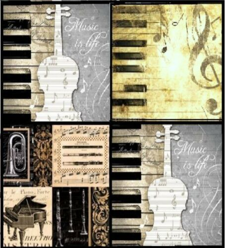 4 Vintage Table Paper Napkins for Party Lunch Decoupage Music Mix
