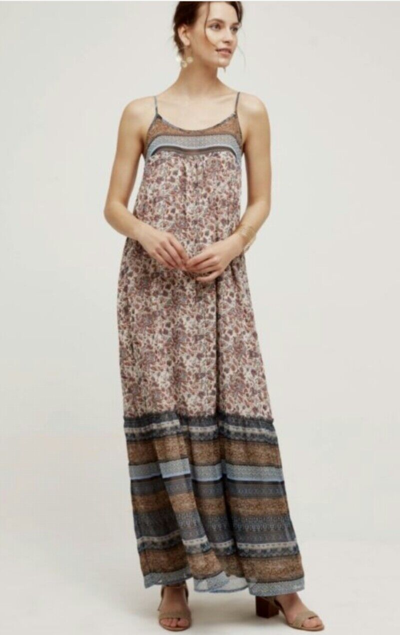 Anthropologie Tiered Maxi Dress by Floreat Multicolor Paisley-floral XS Petite