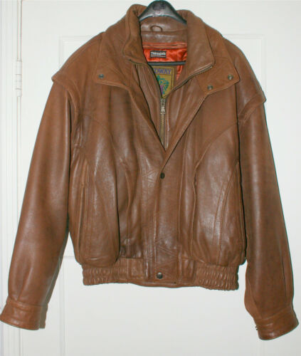 Vintage Brown Leather Jacket Men's M w Thinsulate