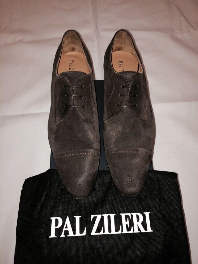 New w Box Pal Zileri Leather Cap-Toe Laceup scarpe For Men - Marronee - Dimensione 10.5 US