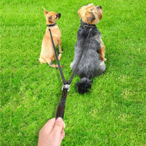 2 in 1 Double Dog Leash Leather Two Dog Lead for Two Medium Breeds Brown Black