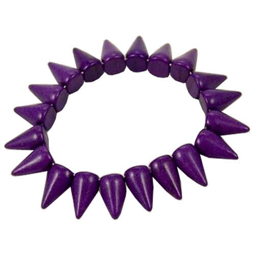 Dyed Purple Howlite Conical Spike Spiked Bead Elasticated Gothic Bracelet