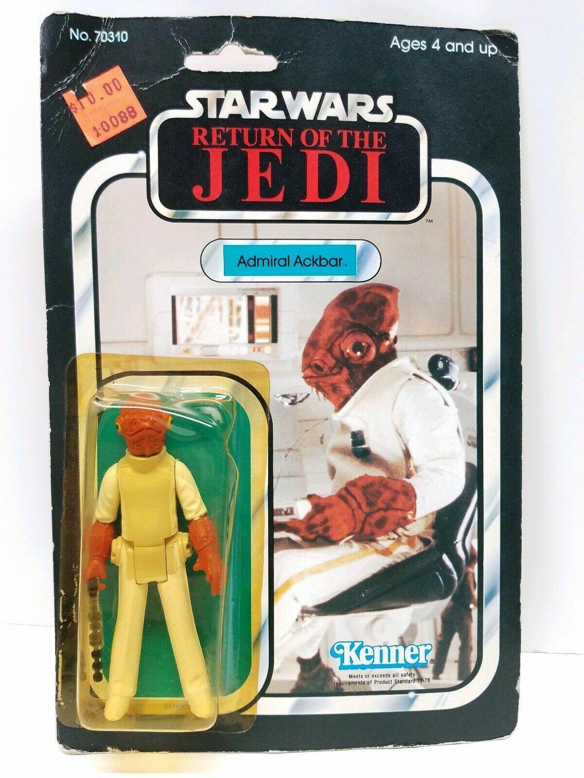Admiral Ackbar menta en tarjeta Vintage Estrella Wars Figura Kenner 65 atrás Originales Regreso del Jedi 1983