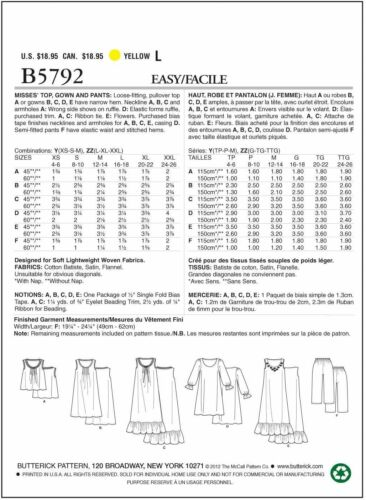 Butterick 5792 Sz 4-26 Nightgowns /& Pajama Pants Top Gathered Loose Gown Pattern