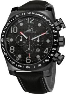 Joshua-amp-Sons-JS14BK-Chronograph-Tachymeter-GMT-Date-Black-Leather-Mens-Watch