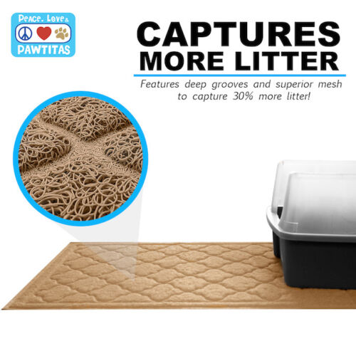 Pawtitas Pet Cat Litter Mat designed for a large and extra large litter box