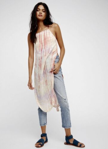 NWT Free People Remember When Ivory Combo Tie Dye Midi Maxi Tunic Top XS-S-M-L