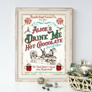 Alice In Wonderland Hot Chocolate Sign