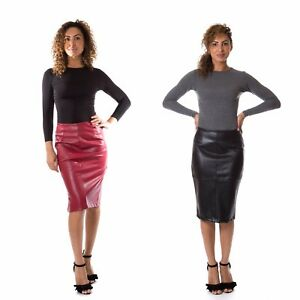 9ad11062646cc Image is loading Womens-Faux-Leather-Skirt-Ladies-Winter-Knee-Length-