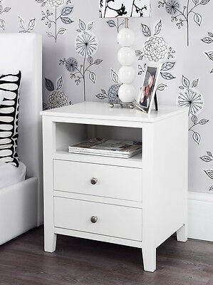 BROOKLYN White bedside table, wardrobe, tv stand media chest of drawers and more
