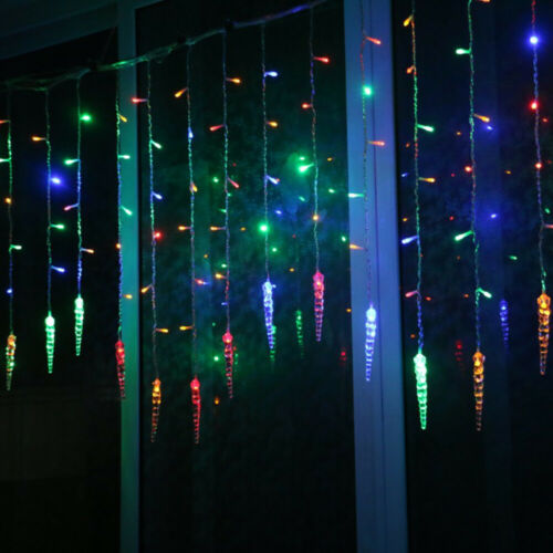 ✅LED Ice Piton Fairy String Curtain Window Light Battery Party Bedroom Holiday