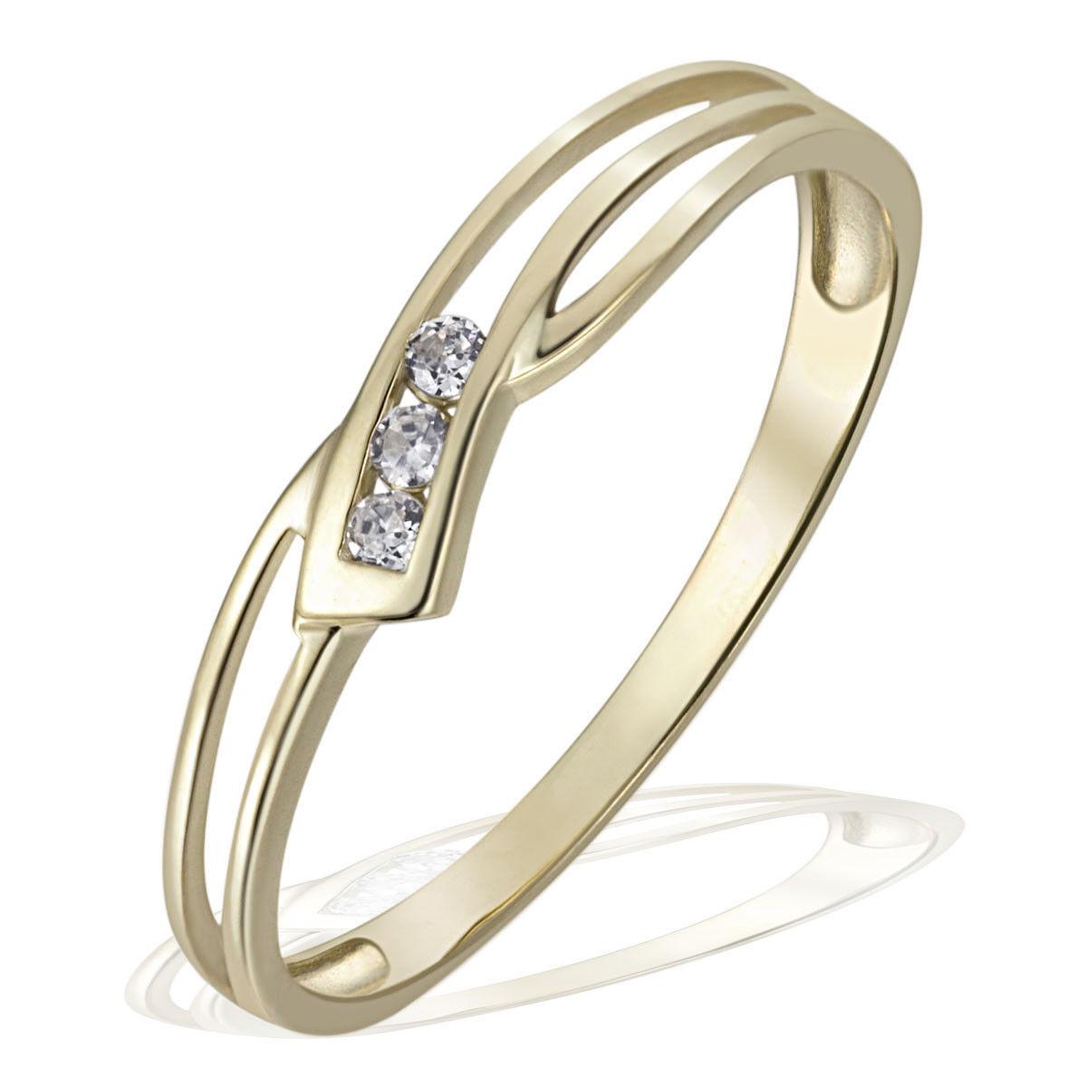 oro Maid Anello 375 375 375 giallo anello di fidanzamento oro 3 BIANCO DONNA ZIRCONI ANELLO NUOVO 4eef94