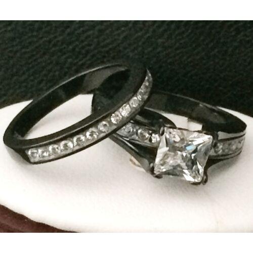 BLACK STAINLESS STEEL WOMENS ENGAGEMENT WEDDING RING SET PRINCESS CUT CZ SZ 5-10