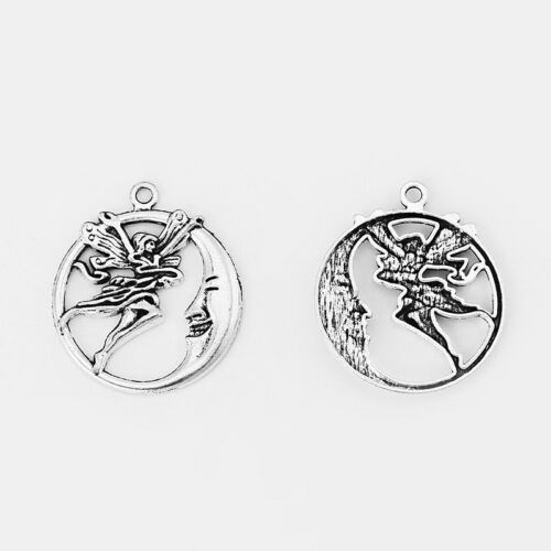 10//30pcs Antique Silver Smile Moon Face Angel Fairy Charms Pendant Jewelry Beads