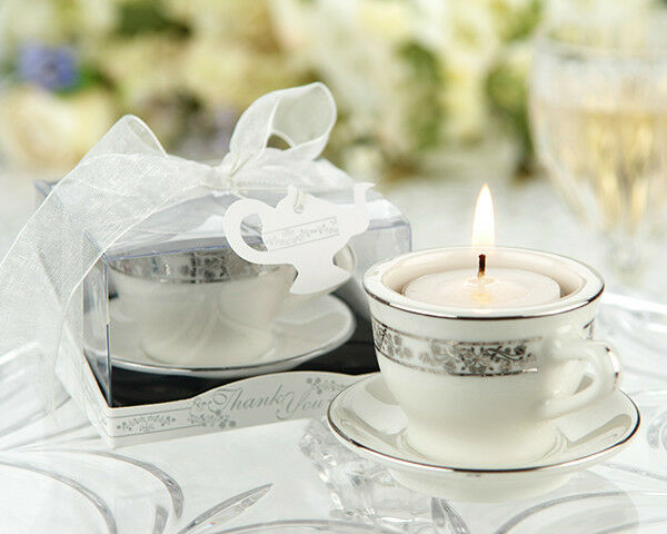 48 Teacups and Tealights Miniature  Candle Wedding Bridal Shower Favors