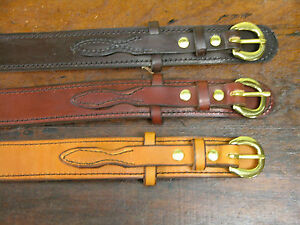 "1 1//2/"" wide hand made barbwire embossed solid leather belt."