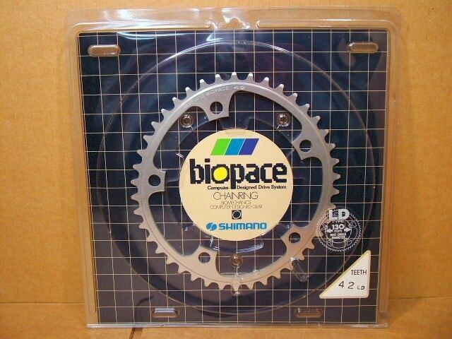 New-Old-Stock Shimano Biopace Chainring...42T w 130mm BCD (Silber Finish)