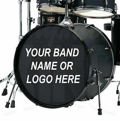 Personnalisé Personnalisé BASS DRUM STICKER Band Logo Imprimé Bulle COUP FRANC nom UK