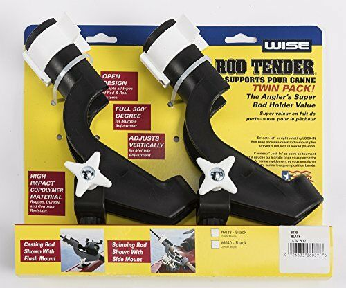 NEW Wise Twin Pack Rod Holder with 2 Flush Mounts Black FREE SHIPPING