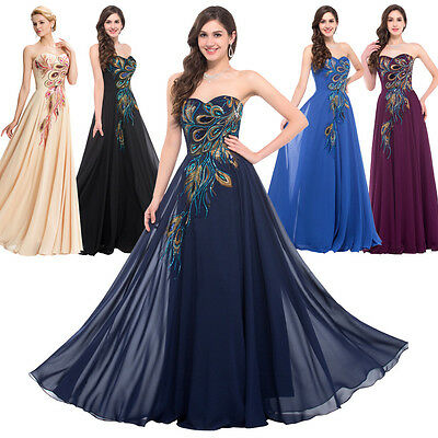 Grace Karin Womens Vintage Peacock Formal Gown Cocktail Party Evening Prom Dress