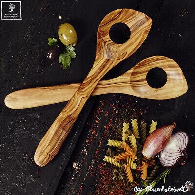 2 Olive Legno Cucchiaio Risotto Rührlöffel Con Foro Set 2 Pezzi Lavoro A Mano 30cm-mostra Il Titolo Originale