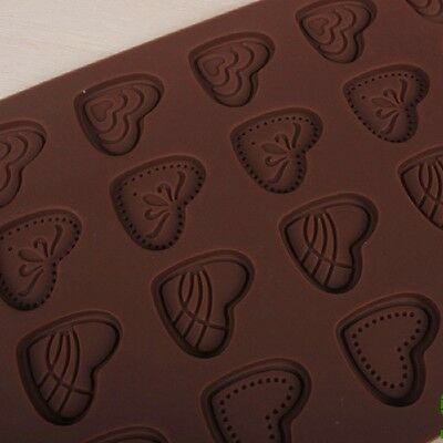 Cake Mould Chocolate 24-Cavity Heart Silicone Pastry Baking Biscuit Sheet Mat
