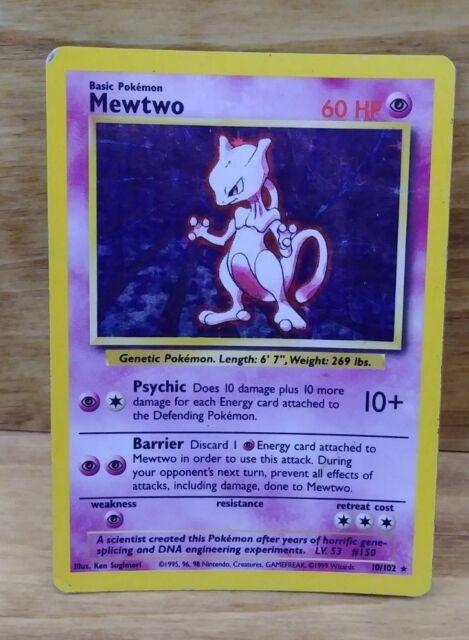 x 1 Pokemon - Mewtwo (10/102) - Holo - Base Set - Light Play