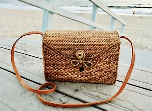Image Is Loading Rectangle Rattan Bag With Batik Fabric Interior Handmade