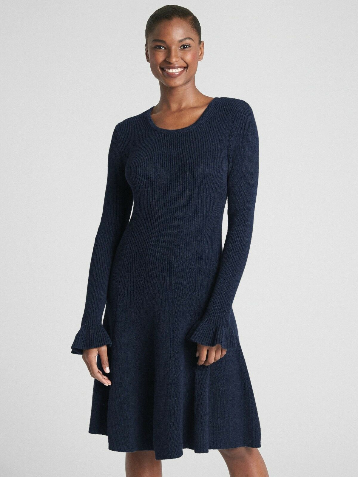 Gap Fit and Flare Long Sleeve Sweater Dress, NAVY SIZE ST S T      E1202