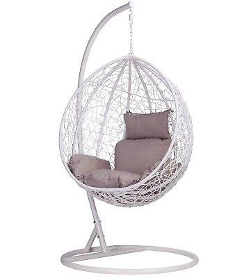 Rattan Swing Patio Garden White Weave Hanging Egg Chair