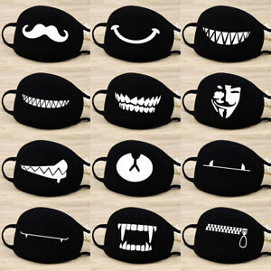 Cotton Face Masks Black Windproof Mask Cute Half Face Mouth Muffle Unisex AU