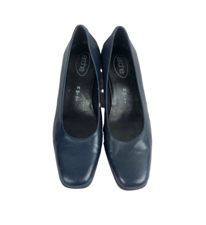 Arche Pumps Size 9 Womens Square Toe Block Heel Slip On Blue