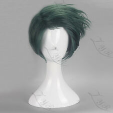 Anime JoJo's Bizarre Adventure Rohan Kishibe Short Dark Green Cosplay Wig N004