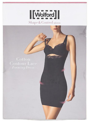 eu38, 40 rrp:£209 12 WOLFORDA Stretch Lace Forming Dress 52548 Blk: uk10