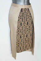 Monsoon Cream Gold Jacquard And Embellished Lace Layered Pencil Skirt 12 / 40