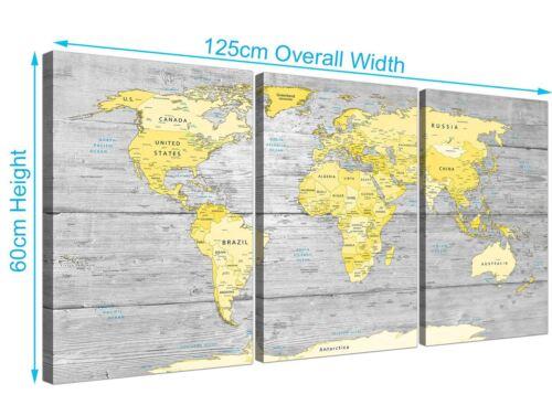 Large Yellow Grey Map of World Atlas Canvas Wall Art Print 3305 Multi 3 Part