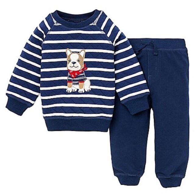 Little Me 3 Piece Aviator Set for Little Boys Jacket-Long Sleeve Shirt-Pants